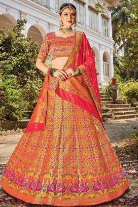 Latest Designer Banarasi Silk Bridal Lehenga Choli In Multi Color