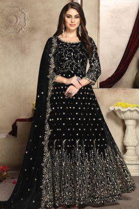 Latest Designer Black Georgette Party Wear Anarkali Suit
