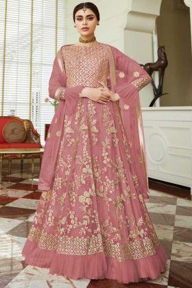 Latest Designer Bridal Wear Butterfly Net Indo Western In Light Maroon