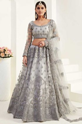 Latest Designer Bridal Wedding Wear Grey Can Can Lehenga Choli