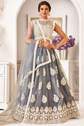 Latest Designer Grey Color Embroidery Lehenga Choli