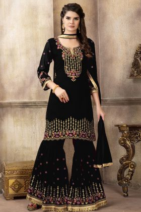 Latest Designer Heavy Georgette Black Color Sharara Suit