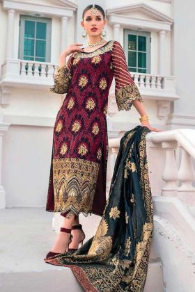 Latest Designer Maroon Color Georgette Pakistani Salwar Suit