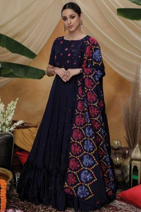 Latest Designer Navy Blue Party Wear Silk Gown