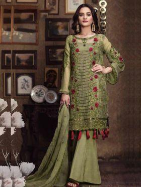 Latest Designer Parrot Color Pakistani Salwar Kameez Fabricated On Faux Georgette
