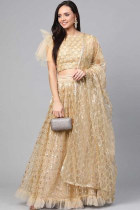 Latest Designer Party Wear Beige Santoon Fancy Lehenga Choli