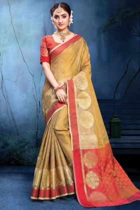 Latest Designer Party Wear Beige Saree