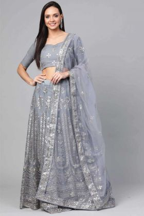 Latest Designer Party Wear Grey Net Fancy Lehenga Choli