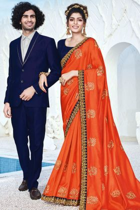 Latest Designer Party Wear Sarees In Embroidery Work