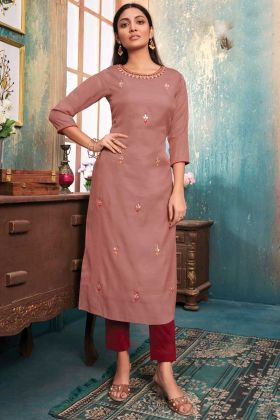 Latest Designer Party Wear Tussar Satin Light Brown Kurti With Bottom