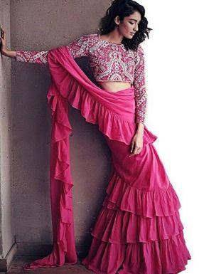 Latest Designer Pink Ruffle Saree