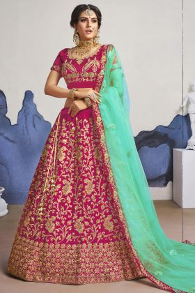 Latest Designer Pink Satin Silk Bridal Heavy Lehenga Choli For Shadi