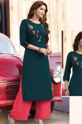 Latest Designer Rayon Bottal Green Casual Latest Kurti