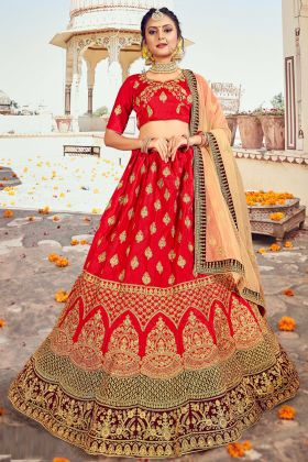 Latest Designer Red Color Embroidered Silk Lehenga Choli For Dulhan
