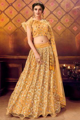 Latest Designer Soft Net Fancy Lehenga Choli In Mustard Color