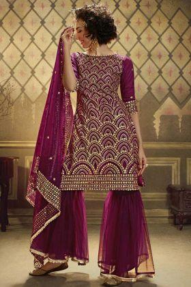 Latest Designer Soft Net Wine Color Sharara Salwar Suit
