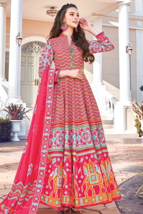 Latest Designer Soft Silk Dark Pink Stylist Printed Gown By Online
