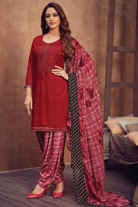 Latest Designer Viscose Rayon Red Color Salwar Dress For Daily Wearing