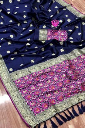 Latest Designer Wedding Dark Blue Color Weaving Pure Silk Saree