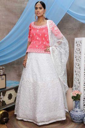 Latest Designer White Party Wear Semi Stitched Lehenga Choli