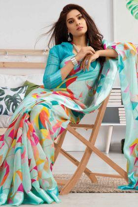 Latest Designing Sky Blue Linen Saree For Wedding