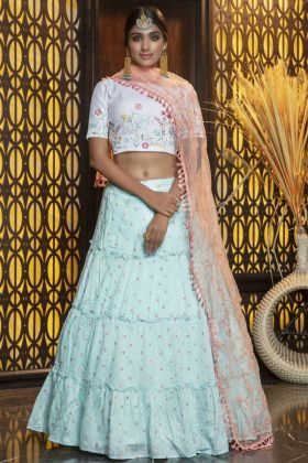 Latest Diwali Wear Sky Blue Stone Work Lehenga Choli