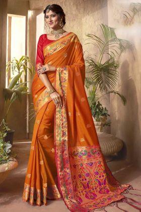 Latest Ethnic Orange Color Classy Designer Jecquard Silk Saree