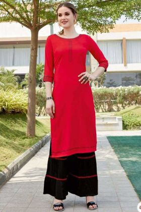 Latest Fancy Collection Red Color Sharara Kurti In Heavy rayon