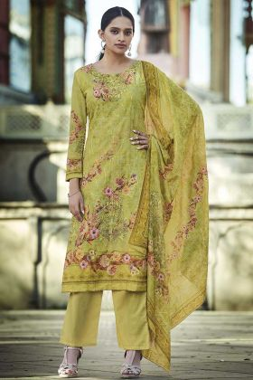 Latest Fancy Digital Printed Pure Cotton Pear Green Palazzo Suit