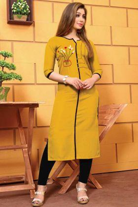 Latest Fancy Hand Work Galaxi Cotton Yellow Kurti
