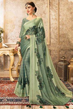 Latest Fancy Style Sea Green Color China Chiffon Saree