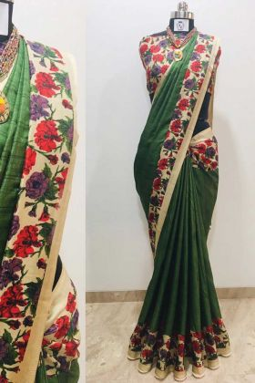 Latest Fashion Of This Green Color Printed Silk Saree