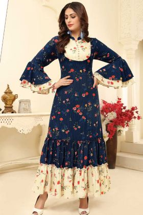 Latest Gown Design With Rayon Color Navy Blue Color