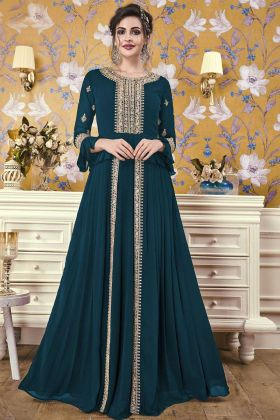 Latest Gown Design With Teal Blue Georgette Fabric