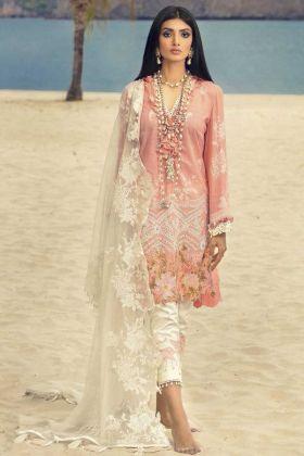Latest Heavy Designer Cotton Eid Salwar Suit In Peach Color