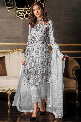 Latest Heavy Designer Eid Salwar Suit In Grey Color