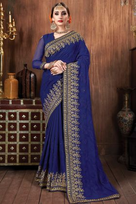 Latest Heavy Embroidered Blue Georgette Wedding Saree