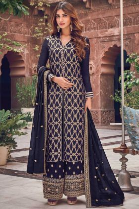 Latest Launch Navy Blue Jacquard Silk Collection For Party