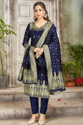Latest Launch Navy Blue Party Wear Banarasi Art Silk Suit