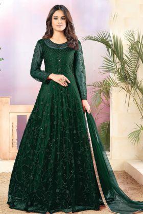 Latest Launch Net Fabric Dark Green Anarkali Style Heavy Suit