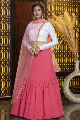 Latest Launch Pink Color Georgette Sequence Work Lehenga Choli
