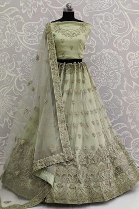 Latest Lehenga Design With Pastel Green Color