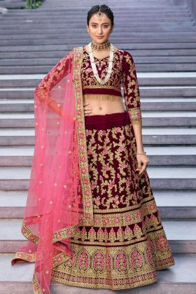 Latest Lehenga Velvet 9000 Maroon Color For Brides