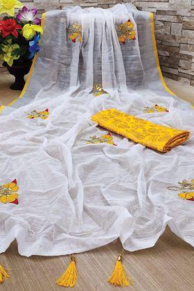 Latest Linen Yellow Saree With Banglori Mirror Work