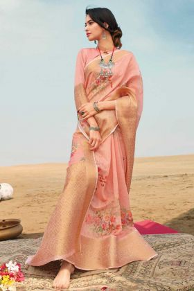 Latest Linen Zari Saree With Digital Printed Work In Peach Color