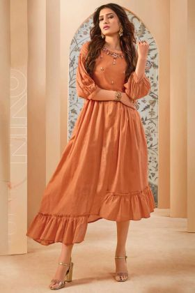 Latest Mal Cotton Orange Fancy Readymade Kurti