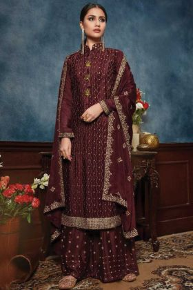 Latest Maroon Chiffon  Salwar Dress For Special Look In Wedding