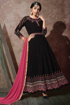 Latest Nice Looking Georgette Black Color Anarkali Suit