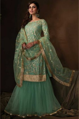 Latest Party Collection Green Color Soft Net Party Wear Sharara Suit