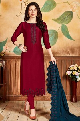 Latest Party Wear Churidar Salwar Suit Red Color